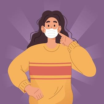 Jonge vrouw die gezichtsmasker draagt. preventieve maatregelen tegen coronavirus