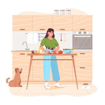 Jonge vrouw die gezond voedsel bereidt, groenten op tafel snijdt. gelukkig meisje dat groentesalade op de keuken thuis voorbereidt voor ontbijt of lunch. vegetarische keuken. platte cartoon vectorillustratie.