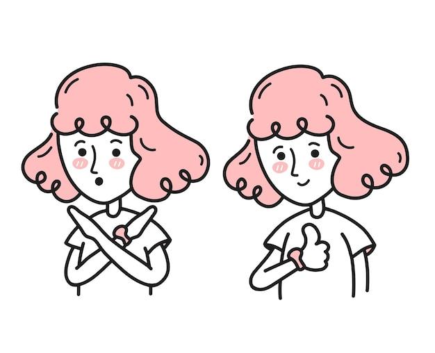 Jonge vrouw die haar armen kruist en geen gebaar zegt, laat haar duimen omhoog