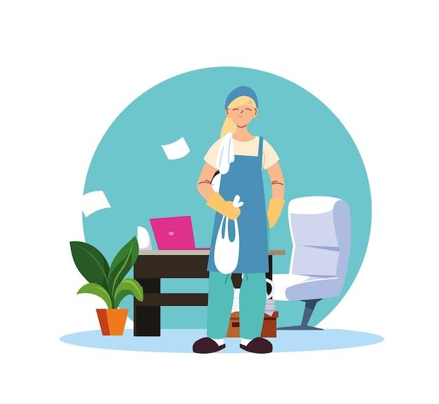Jonge vrouw die in de schoonmaakdienst thuis desing werkt