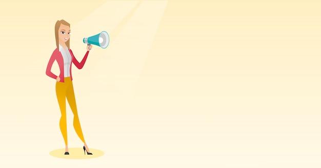 Jonge vrouw die in een megafoon spreekt.