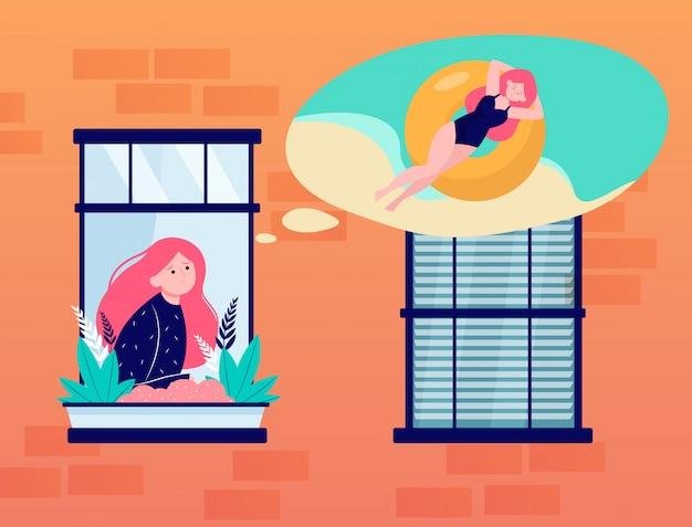 Jonge vrouw die in venster over overzees droomt