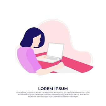 Jonge vrouw die laptop gebruikt die vanuit huis werkt