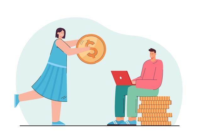 Jonge vrouw die man met computer financiële steun geeft