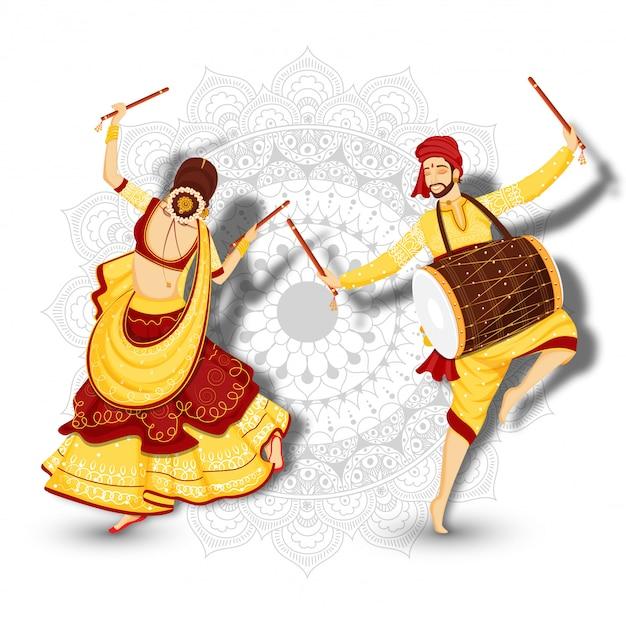Jonge vrouw die met dandiya-dans en drummer danst