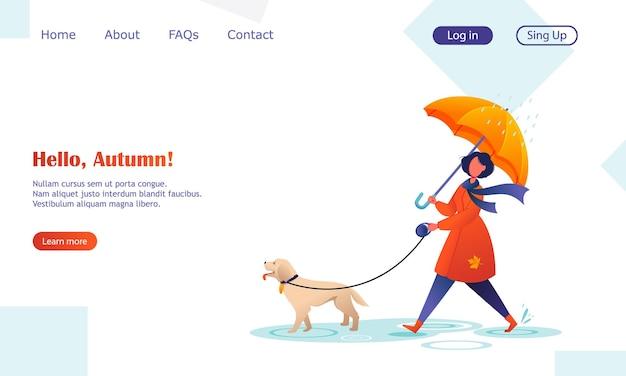 Jonge vrouw die met de hond loopt onder paraplu, herfst, regenachtig weer. schattig stripfiguur