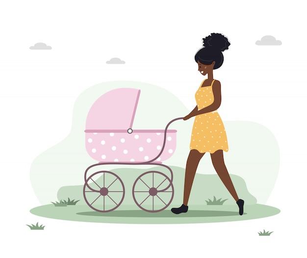 Jonge vrouw die met haar pasgeboren kind in een kinderwagen loopt. meisje op een wandeling met een kinderwagen en een baby in de natuur in de open lucht. illustraties in vlakke stijl.