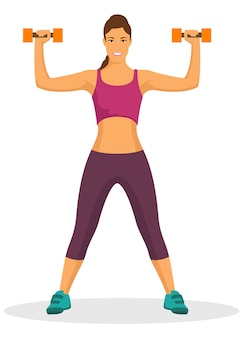 Jonge vrouw die oefening doet die domoor in een gymnastiek gebruikt