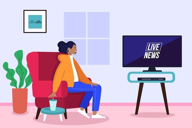 Jonge vrouw die op het nieuws thuis let