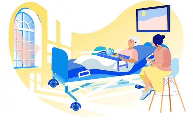 Jonge vrouw die oude zieke dame in het ziekenhuisbed bezoeken