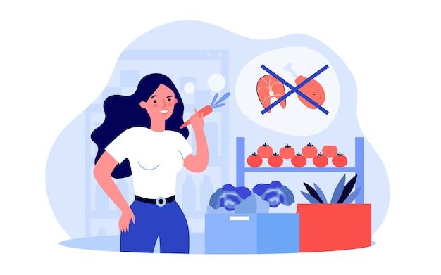Jonge vrouw die overstapt op een vegetarische levensstijl. platte vectorillustratie. meisje kiest groenten en plantaardig dieet in plaats van vlees en vis. vegetarisme, eten, dieet, lifestyle concept voor design