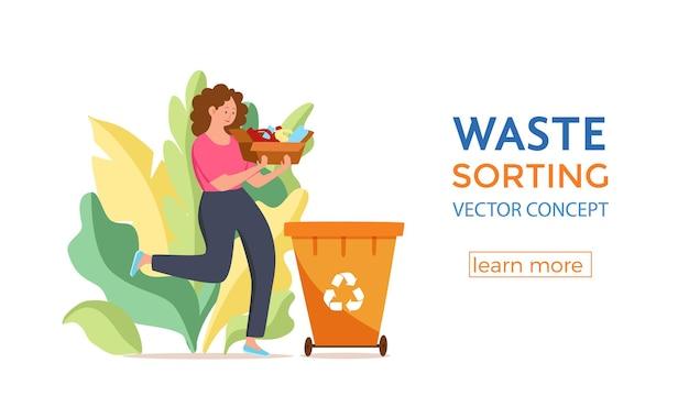 Jonge vrouw die plastic afval in containers gooit vectorillustratie afvalbeheer