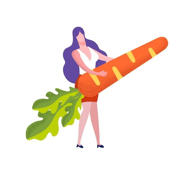 Jonge vrouw die reusachtige wortel op wit houdt