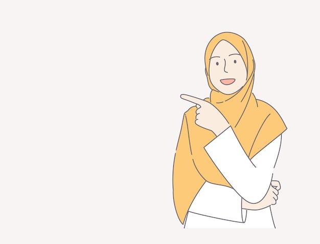 Jonge vrouw die sjaal over het geïsoleerde roze concept van de achtergrond wijzende vinger hand getrokken illustratie draagt.