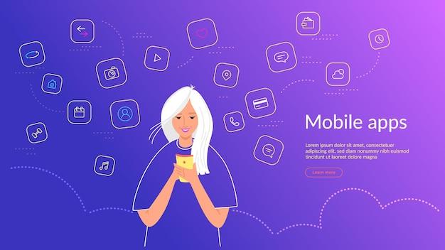 Jonge vrouw die smartphone gebruikt voor chatten, sociale medianetwerken, bankieren en slimme mobiele apps. verlooplijn vectorillustratie van gebruikersinterface, gebruikerservaring en gebruik van mobiele apps door mensen