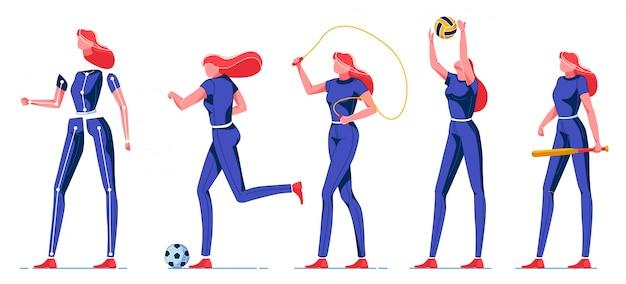 Jonge vrouw die sport en verschillende activiteiten doet.