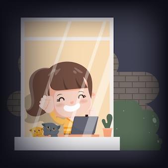 Jonge vrouw die van huiskarakter werkt. nieuwe normale levensstijl thuis blijven met huisdier.