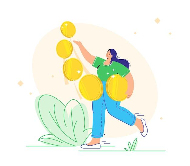 Jonge vrouw die vijf gouden munten draagt en geniet van winst als investeerder. platte vectorillustratie van mensen die geld investeren, winst maken op groeiende markten en rijk werden. geïsoleerd op wit