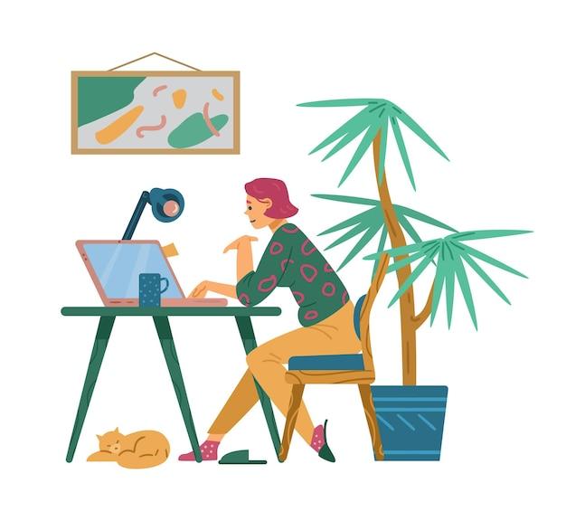 Jonge vrouw die werkt of studeert op de computer thuis platte vectorillustratie