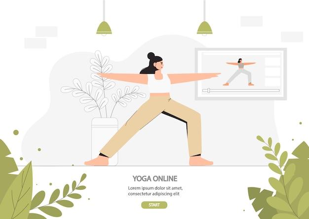 Jonge vrouw die yoga in een gezellige ruimte met een modern binnenland doet, concept online yoga, huisgeschiktheid.