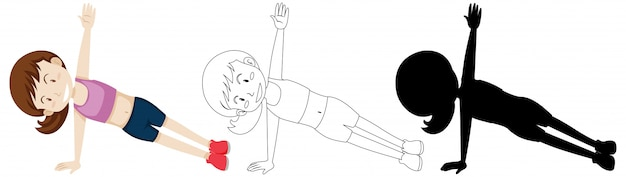 Jonge vrouw die yoga in kleur en overzicht en silhouet doet