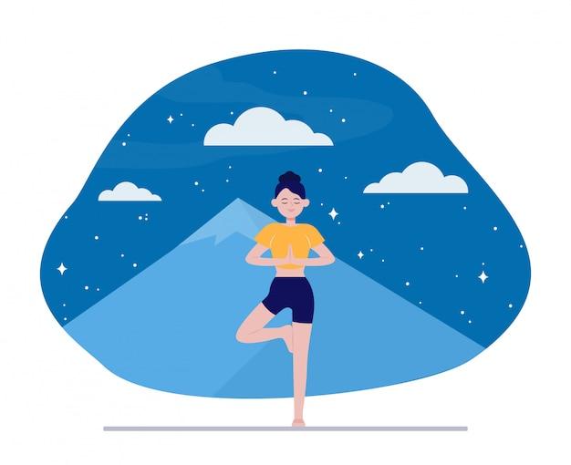 Jonge vrouw die yoga in openlucht doet