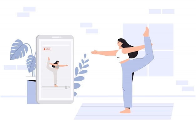 Jonge vrouw doet yoga in een gezellige kamer met een modern interieur, het concept van online yoga.