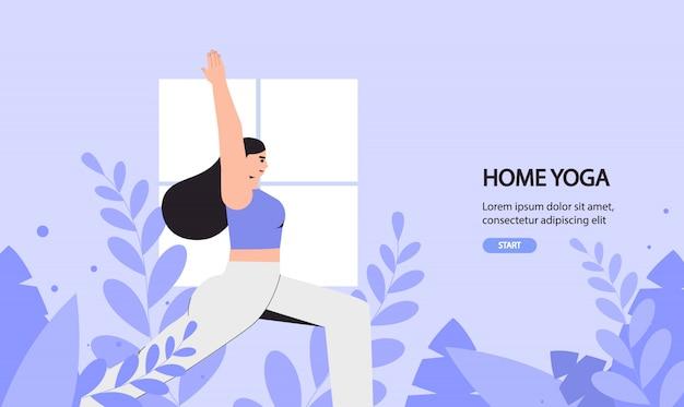 Jonge vrouw doet yoga in een gezellige kamer met een modern interieur, het concept van yoga in huis en thuis blijven.