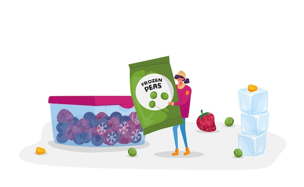 Jonge vrouw draagt pakket met bevroren groene erwten in de buurt van container met ijsbessen. gezonde voeding, ijsgroenten als bron van vitamine en gezondheid, ecoproducten. stripfiguur