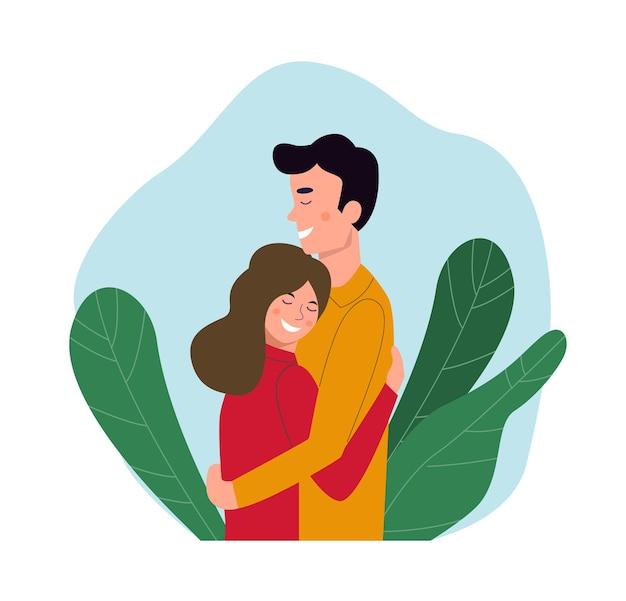 Jonge vrouw en man staan samen omarmen. platte vectorillustratie.