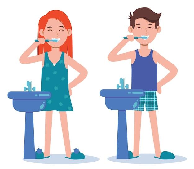 Jonge vrouw en man tandenpoetsen in een badkamer. mondhygiëne, zorg voor tandheelkundige gezondheid.