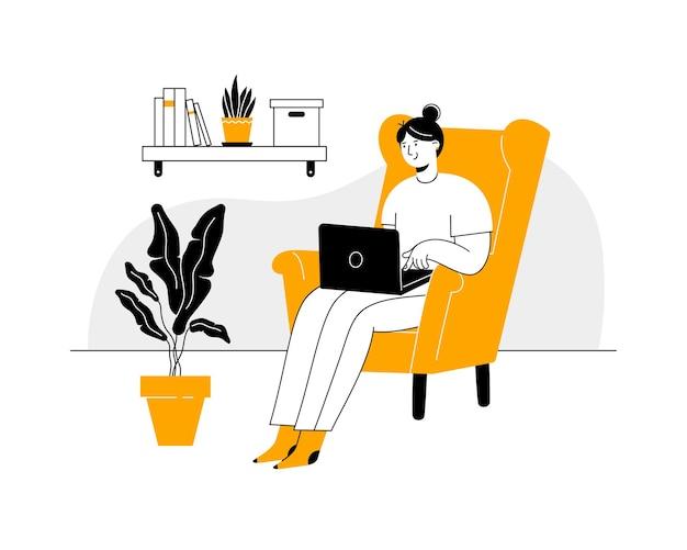Jonge vrouw freelancer werken vanuit huis