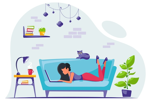 Jonge vrouw freelancer werkt thuis aan een laptop. afstandswerk. thuiskantoor. illustratie in een vlakke stijl.