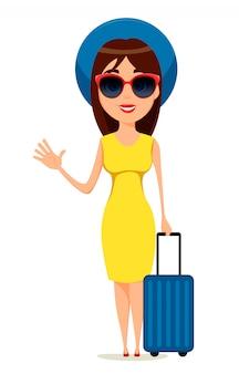 Jonge vrouw gaat op reis