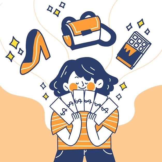 Jonge vrouw gedachten over het besteden van haar salaris doodle illustratie