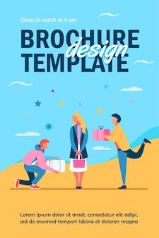 Jonge vrouw geschenken krijgen van adorers flyer-sjabloon