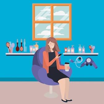 Jonge vrouw gezet als salonvoorzitter het drinken drank