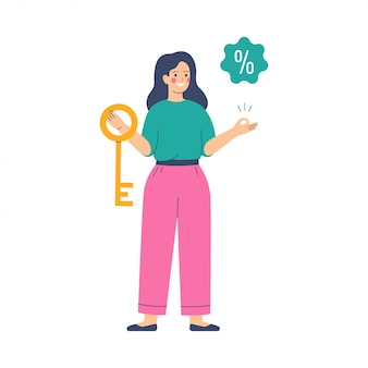 Jonge vrouw houdt de gouden sleutel met een kortingsaanbieding-tag met een procentteken