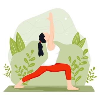 Jonge vrouw houdt zich bezig met yoga en meditatie. het meisje voert aërobe oefeningen uit. vectorillustratie in een platte cartoon-stijl.