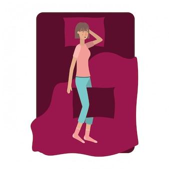 Jonge vrouw in bed avatar karakter
