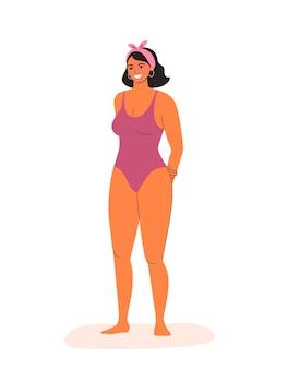 Jonge vrouw in bikini geïsoleerd. cartoon vectorillustratie in vlakke stijl