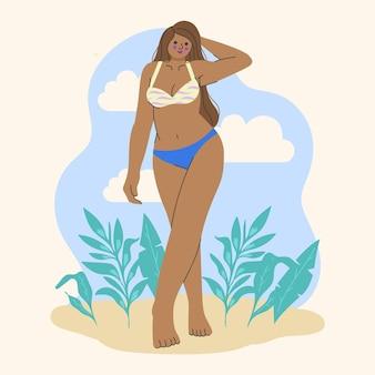 Jonge vrouw in bikiniillustratie