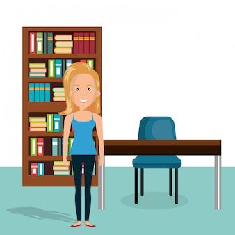 Jonge vrouw in de scène van het bibliotheekkarakter