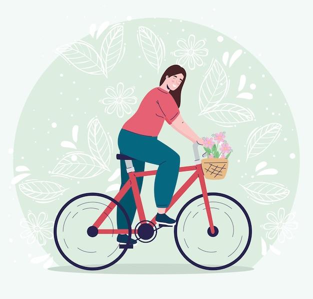 Jonge vrouw in fiets met bloemendecoratie in de illustratie van het mandkarakter