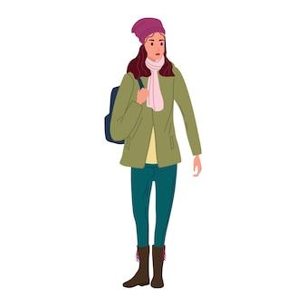 Jonge vrouw in herfst trendy kleding straat modieuze stijl uitloper vrouw