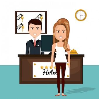 Jonge vrouw in het hotel receptie karakter scene