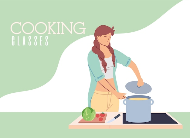 Jonge vrouw in het koken van het ontwerp van de klassenillustratie