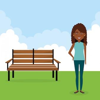 Jonge vrouw in het veld karakter scene