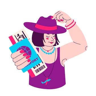 Jonge vrouw in hoed met paspoort en instapkaart in de hand gelukkige persoon voordat je op vakantie gaat