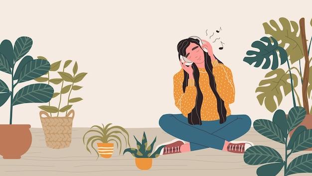 Jonge vrouw in koptelefoon luisteren naar muziek. ontspannen vrouw met gesloten ogen genieten van muziek. cartoon illustratie.